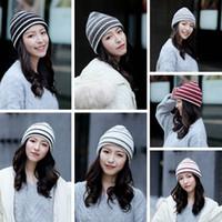 weihnachtshüte für damen groihandel-Frau Knit gestreifter Hut Mode warmer Winter Crochet Schädel-Kappe im Freien Lady Ski Kappe Weihnachten Party-Hüte TTA1833
