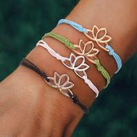 viel glück string armband großhandel-Yoga Schmuck Lotus Flower Charm Wax Coated String Einstellbare Viel Glück Seil Geflochtene Gewebte Buddha Armband