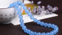 pyrit gold großhandel-Wholesale 45 PC / Los natürliche hellblaue Chalcedony-Korne für den Schmuck, der lose Edelsteine DIY 8 Millimeter bildet Freies Verschiffen