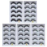 kalın uzun çapraz yanıltıcı kirpikler toptan satış-3D Vizon Yanlış Lashes Uzun Kalın Çapraz Doğal Vizon Kirpikler El Yapımı Yanlış Kirpik Göz Makyaj Araçları 5 çift / takım RRA1043