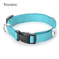 joyería de botón a presión vocheng al por mayor-Vocheng Ginger Snap Charms Jewelry Terylene Collar para perro Fit 18mm Botón 6 colores NN-666