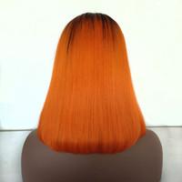 chinesische haarspitze-frontseitenperücken großhandel-Benutzerdefinierte machen orange farbe spitzefrontseite perücke 150% dichte zwei ton farbe bob stil spitzeperücken, chinesische menschenhaar spitzeperücke