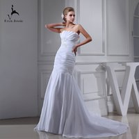 Wholesale strapless organza lace wedding dress resale online - Eren Jossie Young Ladies Pleated Taffeta Slim Fitted White Garden Wedding Dresses With Beaded Appliques Dropshipping