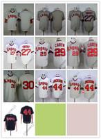 gri beyzbol mayo boş toptan satış-Ucuz Melekler Boş / 27 # TROUT / 29 # BAKIM / 30 # / 44 # JACKSON Krem / Beyaz Gri Siyah Beyzbol Formalar Gömlek Dikişli En Kaliteli!