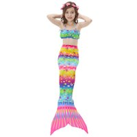 kinder bad mädchen großhandel-Kinder Meerjungfrau Schwanz Für Mädchen Schwimmen Kostüm Cosplay Kinder Badeanzug Badeanzug Meerjungfrau Bademode Monoflosse Connectable
