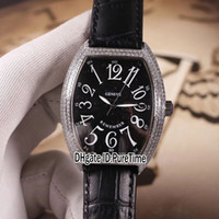 Wholesale big number watch leather for sale - Group buy New Rememrer Crazy Hours CH Silver Diamond Bezel Black Dial Big Number Mark Automatic Mens Watch Black Leather Watches Puretime b2