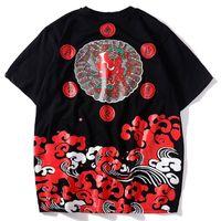 hip hop japonês venda por atacado-2019 Verão Japonês Harajuku Camisetas Mal Impresso Streetwear Hip Hop Casual Manga Curta Tshirt Moda Masculina Tops Tees