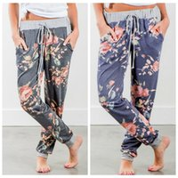 Wholesale baggy clothing online - Women Floral Drawstring Pants Women Casual Dance Harem Pants Baggy Slacks Trousers Elastic Waist Long Pants Home Clothing LJJO6567