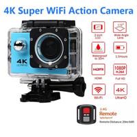 полный hd видеокамеры cmos оптовых-Ультра HD 4K / 30 кадров в секунду экшн-камера 30 м водонепроницаемый 2.0 ' экран 1080P 16 МП пульт дистанционного управления Спорт Wifi камера extreme HD шлем видеокамера автомобиль кулачок