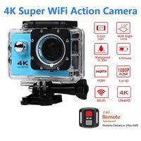 sportkamera 4k großhandel-Ultra HD 4K / 30fps Action Kamera 30m wasserdicht 2,0 'Bildschirm 1080P 16MP Fernbedienung Sport Wifi Kamera extreme HD Helm Camcorder Auto Cam