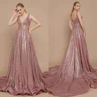 bej gül elbisesi toptan satış-Gül Altın Abiye A Hattı Sweep Tren Bling Glitter V Boyun Lüks Örgün Parti Pageant Törenlerinde Balo Elbise Custom Made