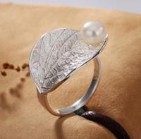 natürlicher perlenring real großhandel-Ring Lotus Fun Echt 925 Sterling Silber Natürliche Perle Handgemachte Designer Edlen Schmuck Kreative Offenen Ring Blatt Ringe für Frauen Bijoux