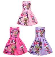 pamuk tek parça elbiseler toptan satış-2019 Çocuklar Sürpriz Kız Kolsuz Prenses Elbise Karikatür Tek parça Elbise Jakarlı Pamuk Butik Çocuk Etekler ile Parti giysi C445