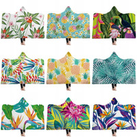 Wholesale flower wash towel online - Pineapple Cactus Flower Printed Double Plush Warm Beach Towel Thickened Hooded Cloaks Home Children Adult Winter Hat Cloak Blanket jm2 hh