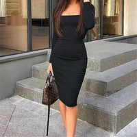 Wholesale blue knee length fitted dresses for sale - Group buy Womens Elegant Fashion Sexy Black Blue Red Cocktail Party Slim Fit Dresses Square Collar Long Sleeve Design Bodycon Midi