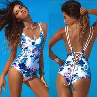 tek parça mayolar brazilian kesim toptan satış-2019 Yeni Tek Parça Mayo Seksi Çok Dizeleri Cut Out Biquini Bodysuit Mayo Beyaz Brezilyalı Beachwear