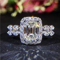 elmas sonsuzluğu toptan satış-Infinity Lüks Takı 925 Ayar Gümüş Prenses Kesim Beyaz Topaz CZ Elmas Promise Yüzükler Eternity Kadınlar Düğün Band Yüzük Severler için