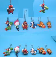 cosplay original venda por atacado-Mario pingente original 6 pçs / lote super mario bros keyring ornamento cosplay coleção presente mario figuras de ação boneca brinquedos