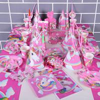 1. kinder großhandel-Einhorn Geburtstag Partydekorationen Kinder Cartoon DisposableTableware Sets 1. Geburtstag Papier Tasse Hut Servietten