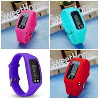 Wholesale calorie counter bracelet for sale - Led Electronics Pedometer Sports Bracelet Counter Watch Walking Distance Calorie Multi Function Silica Gel Colors Mix fcf1