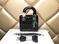 vermisse kette großhandel-Designer Lady Plaid Schultertasche Echtes Lackleder 3 Plaid Chain Bag Lammfell mit Charms Miss Handtasche CChristian