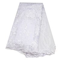 tejido jacquard africano al por mayor-Tela de encaje de tul con lentejuelas Tela de encaje africano Bordado de alta calidad de encaje neto neto para las mujeres vestido nuevo blanco
