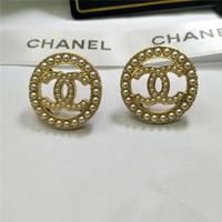 ingrosso marchi di lusso-Orecchini pendenti con diamanti di lusso di alta qualità in vendita calda con diamanti Orecchini in metallo con lettera in metallo di moda con ago in argento S925
