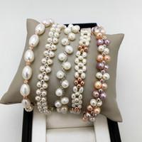 mode armbänder frau großhandel-Perle Armband 100% Natürliche Frischwasserperlen Armband für Frauen Exquisite Schmuck Armband für hochzeit Handgemachte Weihnachtsgeschenk Mode