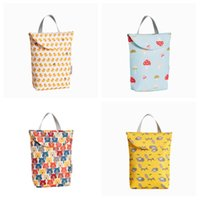 Wholesale cartoon wet bag resale online - cute Baby Cartoon Print Nappy Bag Protable Waterproof Reusable Wet Bag Dry Cloth Zipper Diaper bag Handbag Baby Nursing T2G5056