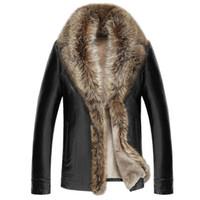 пуховая шуба оптовых-2018 Autumn Winter Thick Warm Jacket Men Faux Fur Coat Long Sleeve Turn Down Colalr Button Hot Sale Mid Length Fur Coat Men