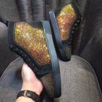 los mejores zapatos de moda de los hombres photo al por mayor-Real Photo, con la caja, la bolsa anti polvo hizo ante con Crystal zapatillas de deporte de los hombres, las mujeres Ocio Pisos Moda top del alto zapatos inferiores rojos del partido Dressshoe