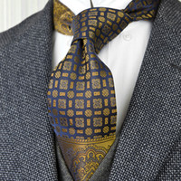Wholesale navy blue gold tie resale online - F22 Multicolor Brown Gold Yellow Navy Blue Floral Mens Ties Neckties Pocket Square Silk Jacquard Woven Tie Sets Hanky