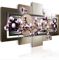 moldura de moda venda por atacado-HD Moda 5 PÇS / set Roxo Magnólia zen Flor Cópia Da Arte Da Lona Sem Moldura Pintura Retrato Da Parede Casa Sem Moldura