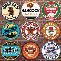 yuvarlak kalay levhaları toptan satış-30CM Retro Plak Metal Metal Tabelalar Cafe Bar Pub Tabela Duvar Dekor Vintage Nostalji Yuvarlak Tabaklar Garaj Çerçevesiz boyama Y200108