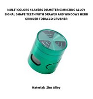 Wholesale windows signal for sale - Herb Grinder Colors layers mm Zinc Alloy Metal Herbal Grinders signal Tooth With Drawer Side Opening Window Tobacco Side Crushe6
