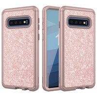 Wholesale glitter case online - For Samsung S10 Case Luxury Glitter Women Case Heavy Duty Dual Layer Full Body Protective Case for Samsung Galaxy S10 S10 Lite