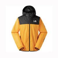 gelber sportmantel für männer großhandel-Marke Männer Jacke Sport Windjacke Reißverschluss Mantel Mode Dünne Oberbekleidung mit Kapuze Patchwork Gelb Weiß Street Style M-4XL