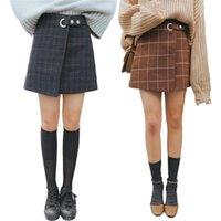ingrosso gonna coreana di lana-Gonna donna autunno inverno Casual versione coreana Hip Wool Retro a vita alta irregolare Una gonna scozzese tipo peloso tenere caldo