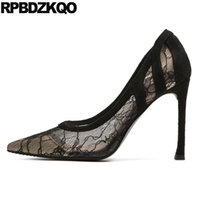 дюймовые насосы на каблуках оптовых-3 inch mesh pointed toe thin ultra  shoes women designers exotic dancer black high heels super summer pumps extreme lace