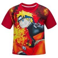 impressão japonesa venda por atacado-Anime japonês Naruto Impresso Crianças T-shirt de Algodão Crianças Moda Verão O-Neck Tees Meninos / Meninas Macios Tops Roupas de Bebê