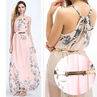 neue frauen kleider chiffon rosa großhandel-2019 New Boho der Frauen-Sommer-Chiffon- Kleid-Dame-Druck-Partei-Abend-Strand-lange Maxi-Kleid-Rosa