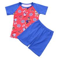 tshirt mode garçon achat en gros de-Mode bébé garçon boutique de vêtements d'été ensemble enfants garçon bleu manches raglan de bande dessinée rouge Tshirt Match bleu coton Short Set