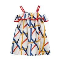 платье без рукавов с геометрическим рисунком оптовых-Kids Girl Summer Dress Геометрический рисунок с принтом Свободные платья слинг