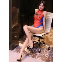 super sexy cosplay kostüme groihandel-Sexy Badeanzug Adult Cosplay Spider-man Super Heroes Halloween-Mädchen-Frauen-Spinne School Mizugi Body