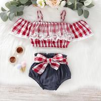 kızlar kırmızı şort seti toptan satış-Bebek Kız Çocuklar Yaz Giyim Setleri Kapalı Omuz Kırmızı Ekose Gömlek + Denim Kısa Yaz Kız giyim setleri