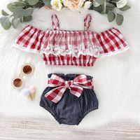 ingrosso fuori denim corto-neonata Abbigliamento estivo per bambini con spalle scoperte Camicia scozzese rossa + Denim Set estivi per bambina estivi