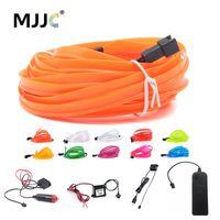 neon halat tel araba toptan satış-3 M Pil Işletilen Beyaz Esnek Neon Işık Glow EL Halat Şerit + Sürücü Denetleyicisi (Mix Renk Sipariş kabul edilebilir)