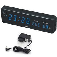 dijital saat numaraları toptan satış-Sıcaklık Nem horloge duvar Elektronik Tablo İzle Danışma Alarm Clock Büyük Sayı Büyük LCD Dijital Duvar Saati
