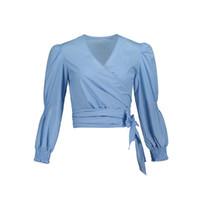 dantel iş kadın giyim toptan satış-Young17 Sonbahar Bluz Mavi Fener Kollu Zarif Dantel-Up Düz V Yaka Ince Moda Iş Giyim Kısa Güz Kadın Gömlek Tops