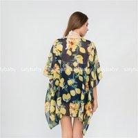 şifon mayo örtüleri toptan satış-Yeni Şifon Limon Plaj Şal güneş koruyucu ve bikini bluzlar renkler Bikini Mayo güneş koruyucu Kapak-Ups